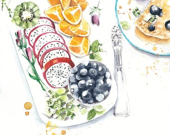"""Original watercolor painting still life breakfast with crepes an fruits illustration 11x14"""" kitchen decor restaurant decor"""