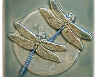 Double Dragonflies, 4x4 inch ceramic tile, two dragonflies with moon.