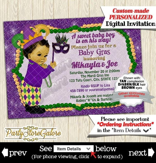 mardi gras baby shower invitations boys green purple gold