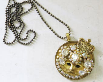 """Venetian Mask Necklace- Vintage Rhinestones and crown with Mask on Antique watch gear- 28"""" ball chain"""