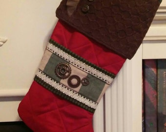Steampunk inspired Christmas stocking! Handmade & OOAK!