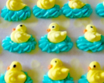 Royal icing Easter duck cake decorations- perfect for Easter cupcakes, chocolates, baby shower favors, & Panoramic Sugar Easter Egg scenes