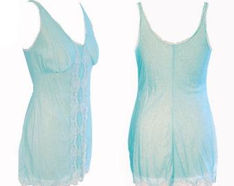 Mid Century 1960s Full Slip Blue Vintage Lingerie   Nightgown Nightie   Bridal Wear   Retro