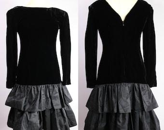 black velvet dress, holiday dress, size 4 party dress, 80s party, 80s clothing, goth dress, grunge style, tiered skirt, gothic lolita, dark