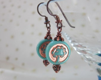 Tree of Life Czech Glass Earrings Unusual Hypoallergenic Turquoise Earrings Unique Symbolic Earrings with Niobium Ear Wires Cool Earrings
