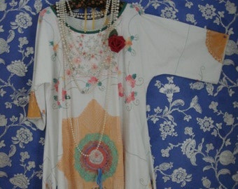 Beautiful Embroidered Vintage Cotton White Recycled Doily Tunic Peach Greens Pinks