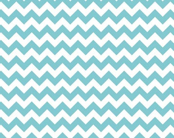 Riley Blake Small Chevron Aqua Blue 1 Yard Cotton Fabric