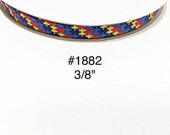 "3 or 5 yard - 3/8"" Autism Awareness Puzzle Motif Small Grosgrain Ribbon Hair bow"