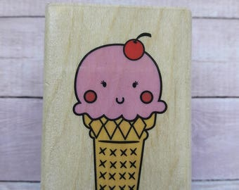 Ice Cream Cone Wood Mounted Rubber Stamp Scrapbooking & Paper Craft Supplies