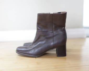vintage brown leather slip on oxford ankle boots womens 6 1/2