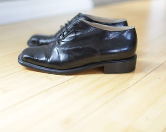 vintage black leather oxfords ankle boots lace up womens 7