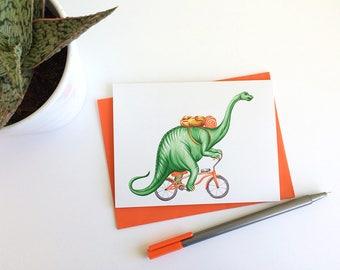 Cycling brontosaurus card, dinosaur on bicycle