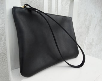 Leather Wristlet Clutch/Leather Black Pouch/Leather Zipper Pouch/READY TO SHIP