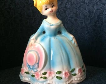 Josef Original Planter  Girl in Pink Blue Flowered Dress with Hat China Figurine Japan