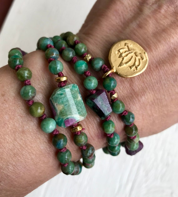108 Wrist Mala Ruby Zoisite Raw Ruby Wrap Bracelet  Knotted Necklace Vermeil Lotus Charm Heart Chakra July Birthstone Yoga Jewelry