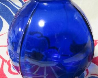 """Cobalt BLUE Round Glass VASE  //  4 1/2"""" High  //  Embossed """"3"""" on Bottom  //  Ribbed Glass Round Cobalt Vase  //  Vintage Cobalt Glass"""