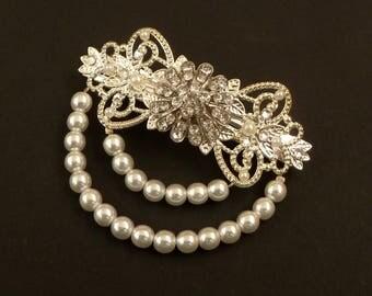 Pearl hair clip in silver white clear rhinestone bridal hair jewelry boho vintage wedding hair accessories headdress gift woman