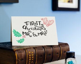 First Christmas As Mr & Mrs Letterpress Christmas Card