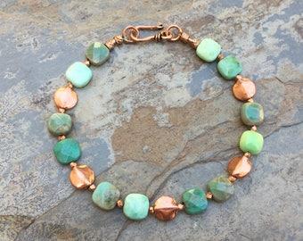 Green Moss Opal and Copper Bracelet, Mens bracelet, Unisex Bracelet, Choose your size