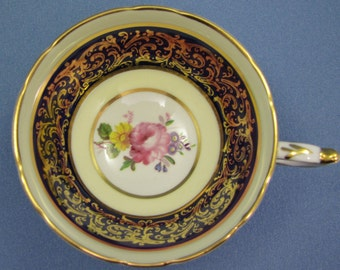 PARAGON Blue and Gold Tea Cup Only, Pretty Flowers with Gold Filigree, Paragon Double Warrant, Made in England, Fine Bone China