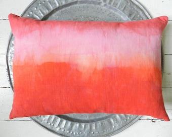 Watermelon coral ombre pillow vintage cotton linen blend cushion crimson red 40 x 60 cm 16 x 24 inches