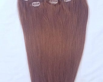 22 inches 7pcs Clip In Human Hair Extensions 30 Medium Auburn