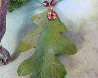 Spring Green Oak Leaf Leather Necklace with copper wire spiral