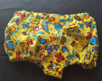 12 Months Baby Boy or Girl Diaper Cover in  Yellow Fabric with Colorful Bugs