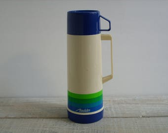 Vintage 80's Aladdin Thermos ~ Pint Size Insulated Coffee Tea Travel Mug ~ Camping Gear Picnic Lunch Beverage Container (B5)
