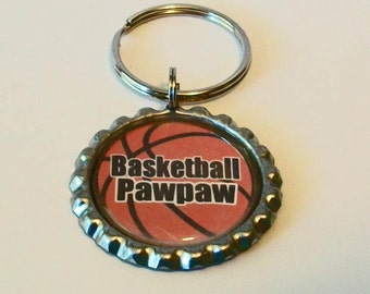 Unique Basketball Pawpaw Grandfather Metal Flattened Bottlecap Keychain Great Gift