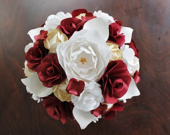 Paper Bridal or Bridesmaid Bouquet - Red, Champagne and Ivory - Mixed roses & calla lilies with a single peony and tiny buds - 8 - 10 - 12