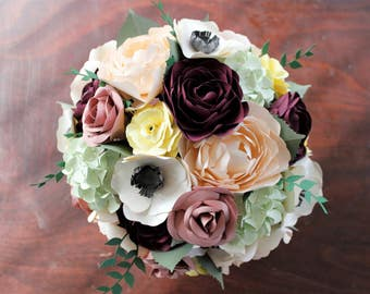 Paper Bridal or Bridesmaid Bouquet - Roses, Peonies, Ranunculus, Hydrangea, Anemones - Burgundy, Blush, Ivory, Pale Green, Yellow