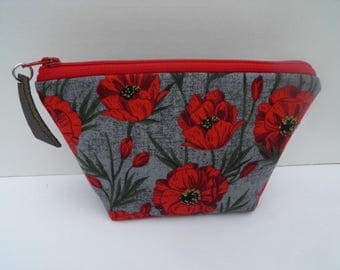Small essential oil zipper pouch,  young living, doterra, edens garden, oil organizer, travel oil bag, red poppies, charcoal