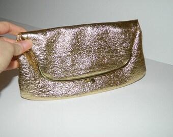 Vintage 1960s Gold Ingber Gold Deep Clutch