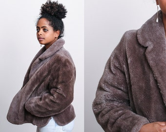 1950s Dusty Brown Gray Faux Fur Cropped Jacket Coat - M - Gatsby - Elegant - Boho