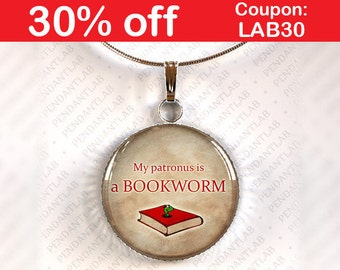 My Patronus is a Bookworm Pendant, Book Lover Gift, Book Quote Necklace, Librarian, Book Addict, Book Worm, Librarian Quote