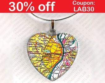 Saint Louis Map Pendant St Louis Necklace Jewelry Saint Louis Missouri