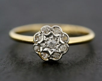Antique Engagement Ring - Art Deco Diamond Engagement Ring - 18ct Gold Posy Cluster Ring