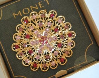 Monet Brooch Gold Tone Spiral Shell Brooch Rhinestones New in Box