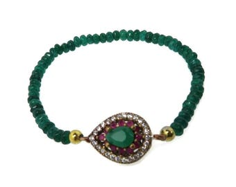 Vintage Sterling Silver Emerald Bead Bracelet, Faux Emerald and Ruby Stretch Bracelet