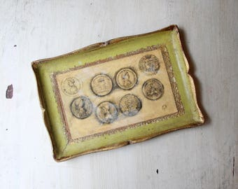Gorgeous Florentia Tray with Roman Coins, Florentine, Gesso over Wood, Scallopped, Baroque, Vanity Tray, Chateau Chic, Wall Hanging,