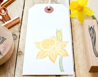 Daffodil Rubber Stamp - Daffodil - Daffodil Flower Stamp - Daffodil Bud Stamp - Daffodils - Hand Carved - Rubber Stamps - Little Stamp Store