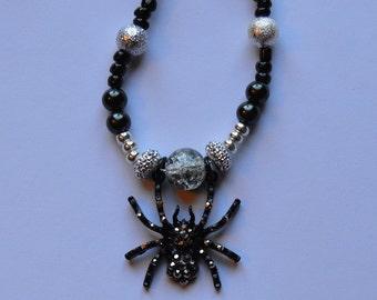Black Spider Beaded Pendant Necklace