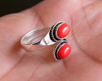 Red Coral Ring, Silver Plated Adjustable Ring, Solitaire Ring, Boho Chic Ring, Gift For Her, Ring size - 8 - Adjustable SH-2638
