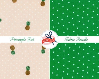 PEACH PINEAPPLE Fabric Bundle Fabric by the Yard, Fat Quarter Pine apple & Polka Dots Fabric Quilt Fabric 100% Cotton Fabric Apparel Fabric