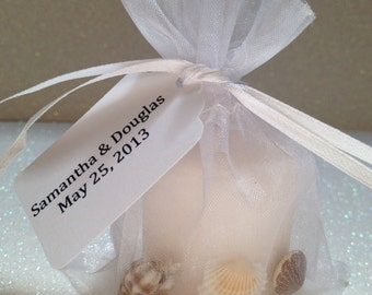 10 Candle Sea Shell Wedding Favors Beach Theme Party