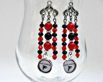 Atlanta Falcons Jewelry, Football Jewelry, Atlanta Falcons Earrings, Falcons Football, Football Earrings, Falcons Accessories, Football Gift