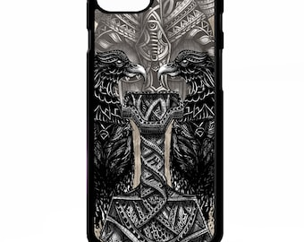 Thors hammer Norse god mythology raven crow odin viking pattern graphic art cover for iphone 4 4s 5 5s 5c 6 6s 7 plus SE phone case