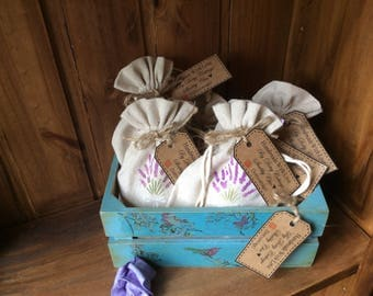 Handmade Lavender bags, Lavender sachets,  home grown dried English Lavender each one hand stamped