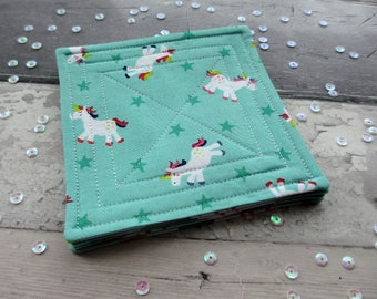 Unicorn Decor, Fabric Coasters, Unicorn Coasters, Rainbow Coasters, Quilted Coasters, Decorative Coasters, Whimsical Decor, Birthday Gift